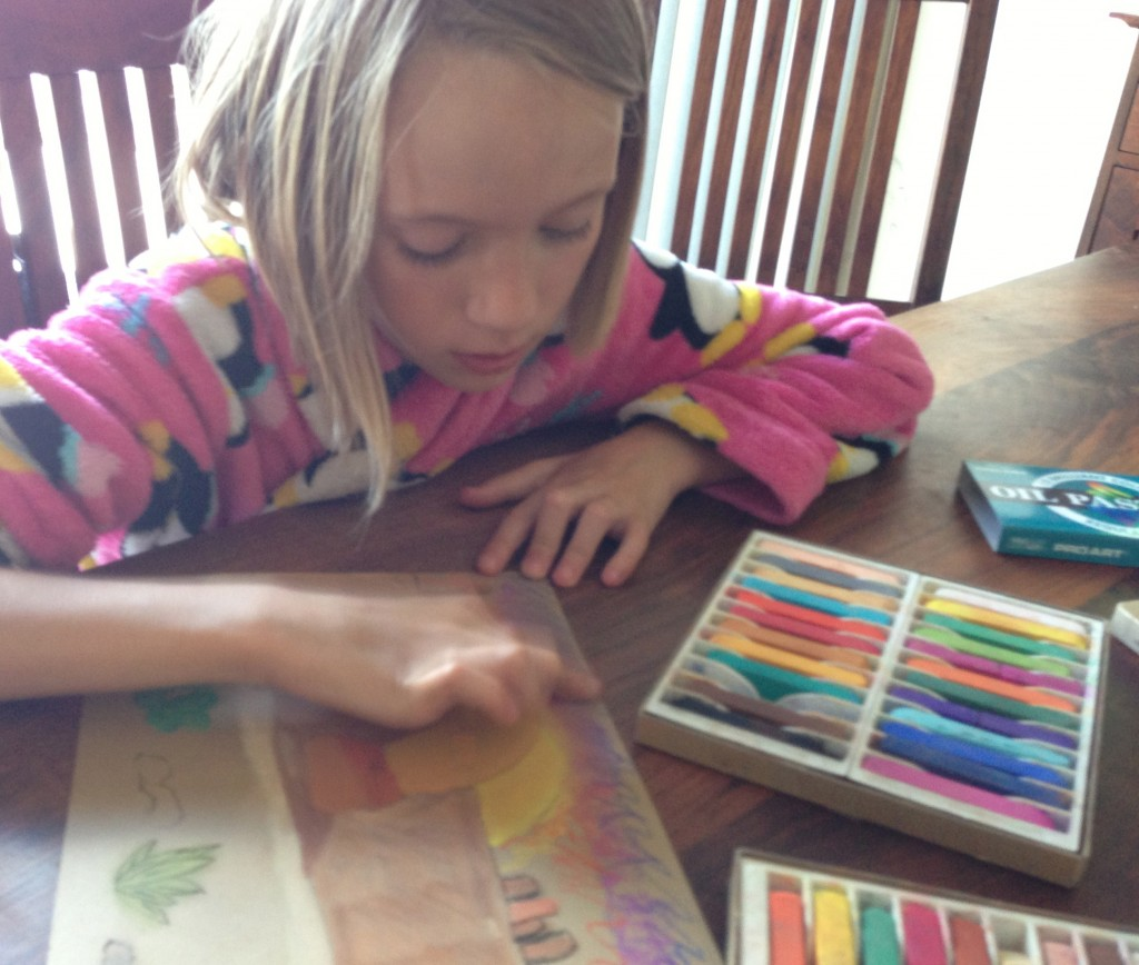 drawing with chalk pastels