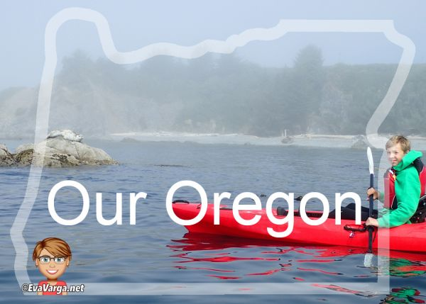 image of teen boy ocean kayaking and harbor seal in background with text Our Oregon at EvaVarga.net