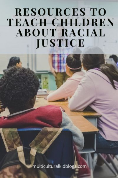 "Image of students seated at desks in a classroom with text overlay, ""Resources to Teach Children About Racial Justice"""