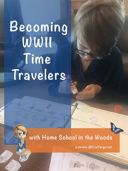 Teen using Home School in the Woods' timeline figures and notebook to create a visual timeline of World War II