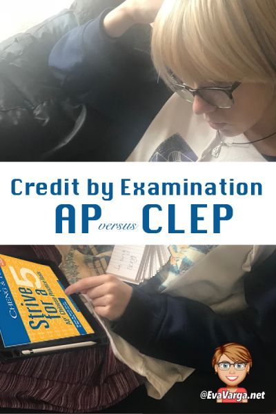 image of teen girl studying for AP exam with text overlay College Credit by Examination: Getting a Jump Start on College @EvaVarga.net