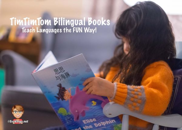 Image of a child reading a bilingual book