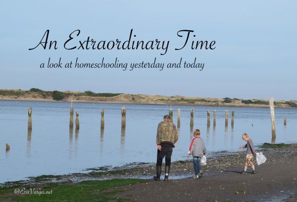 "image of a grandfather walking along the shoreline at low tide with his two grandchildren, text overlay reads: ""an extraordinary time: a look at homeschooling yesterday and today"""