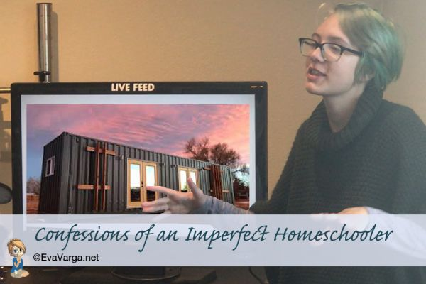 homeschool teen giving a presentation with text - confessions of an imperfect homeschooler