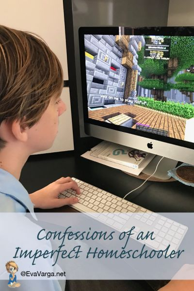 homeschool teen playing Minecraft with text - confessions of an imperfect homeschooler