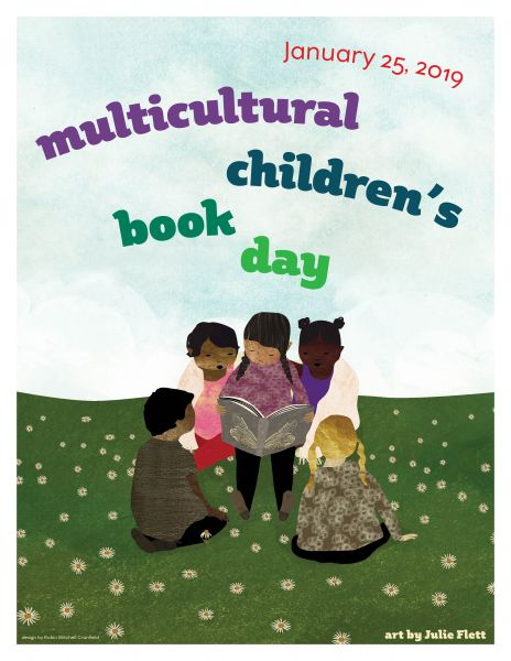 An illustrated image of children reading a book - the 2019 poster image for Multicultural Children's Book Day