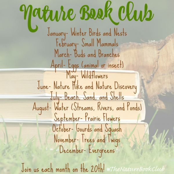 image of a stack of books in the grass with text overlay listing monthly theme
