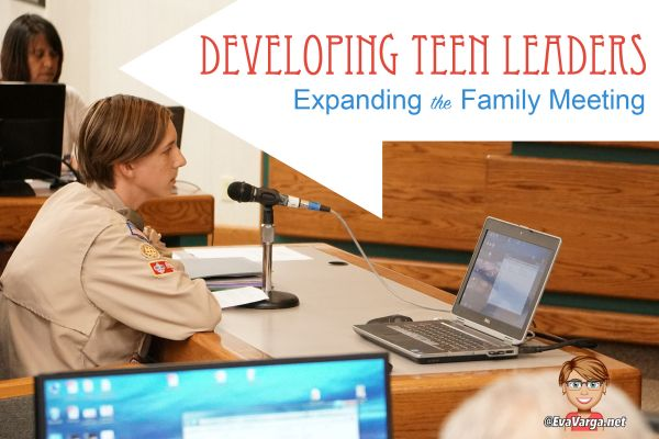 young boy scout addressing the city council with text overlay Developing Teen Leaders: Expanding the Family Meeting @EvaVarga.net