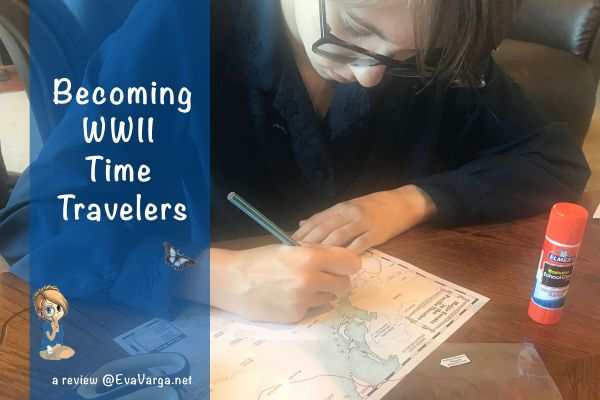 Teen using Home School in the Woods' blackline maps to geographically depict the battles of of World War II
