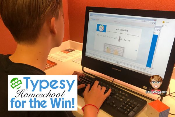 image of a teen boy practicing typing skills with Typesy Homeschool Typing program
