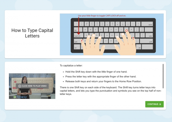 screen schot of Typesy Homeschool Typing Program